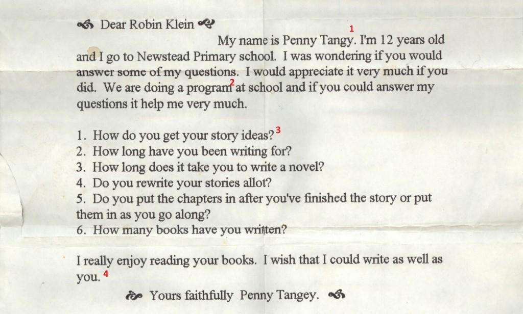 Robin Klein letter