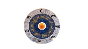 Astrology chart overwritten with netball positions and with an orange in the centre.