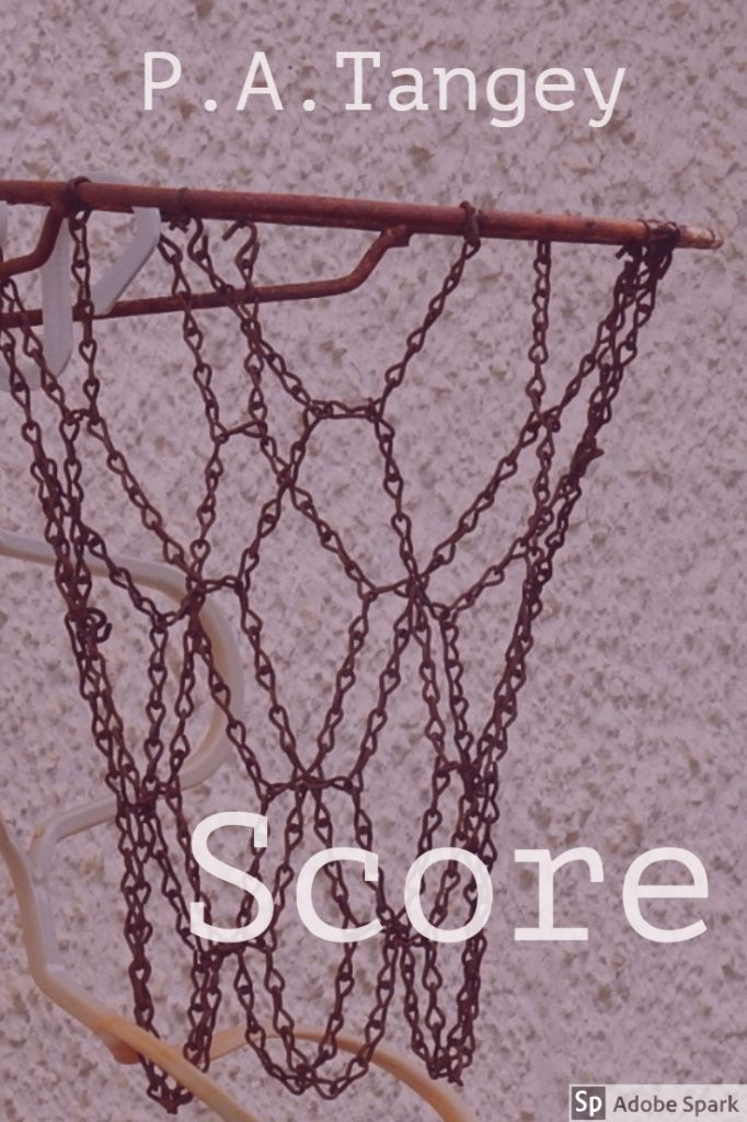 Rusty Netball ring. Text: P.A. Tangey above and Score below.