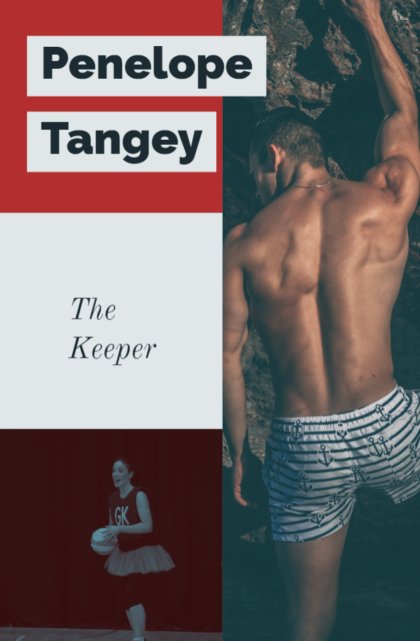 Shirtless man facing away from camera, woman holding netball in goal keeper bib. Text Penelope Tangey, The Keeper