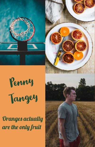 Netball ring from below, oranges on a plate, man in paddock chewing grass. Text Penny Tangey Oranges actually are the only fruit