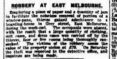 Article headlined Robbery at East Melbourne