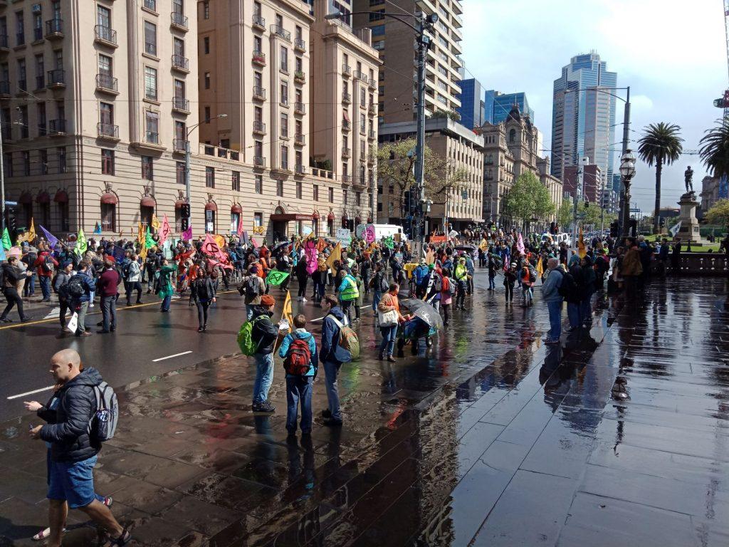 Extinction Rebellion protesters on Melbourne road