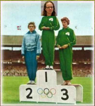 Vintage photo of three athletes on the Olympic podium. The middle athlete's head has been replaced with a photo of Penny Tangey.